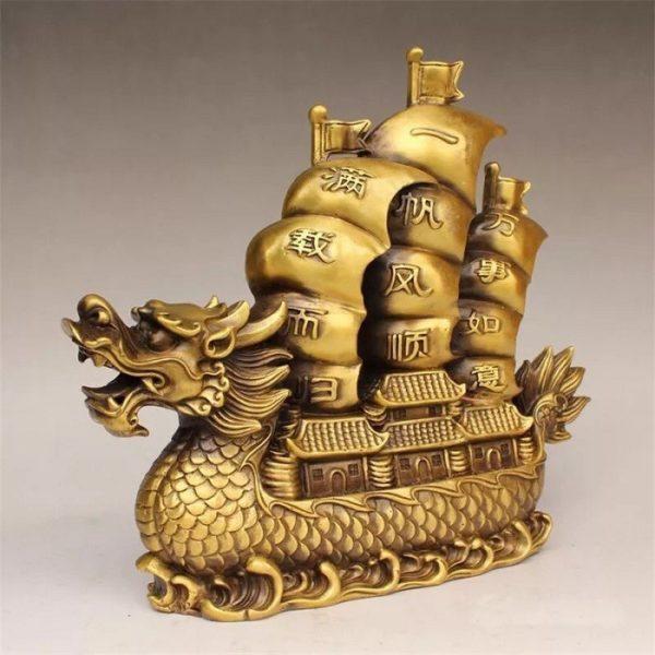 Thuyền buồm đầu rồng phong thủy bằng đồng